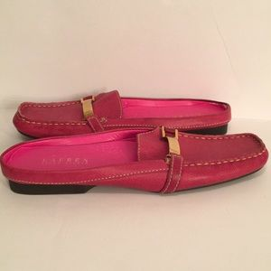 Lauren Ralph Lauren Fuchsia Pink Leather Mules